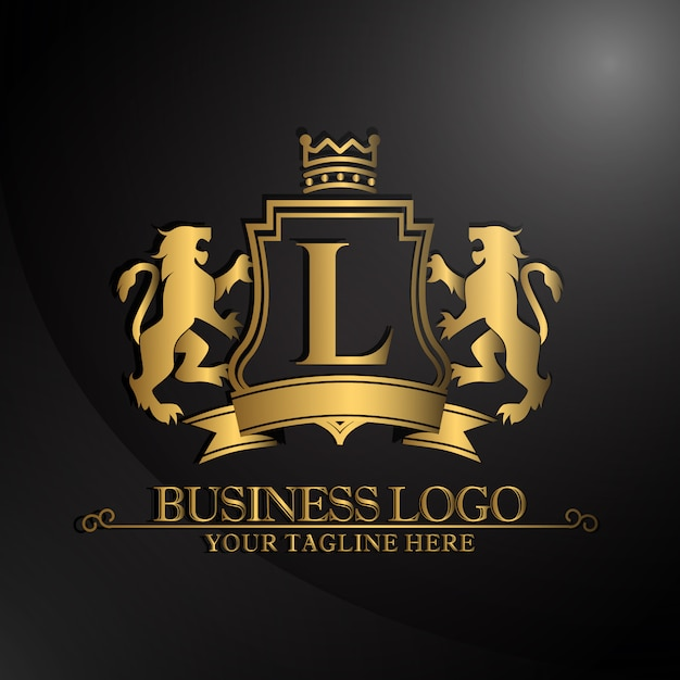 Elegant logo with two lions design Free Vector