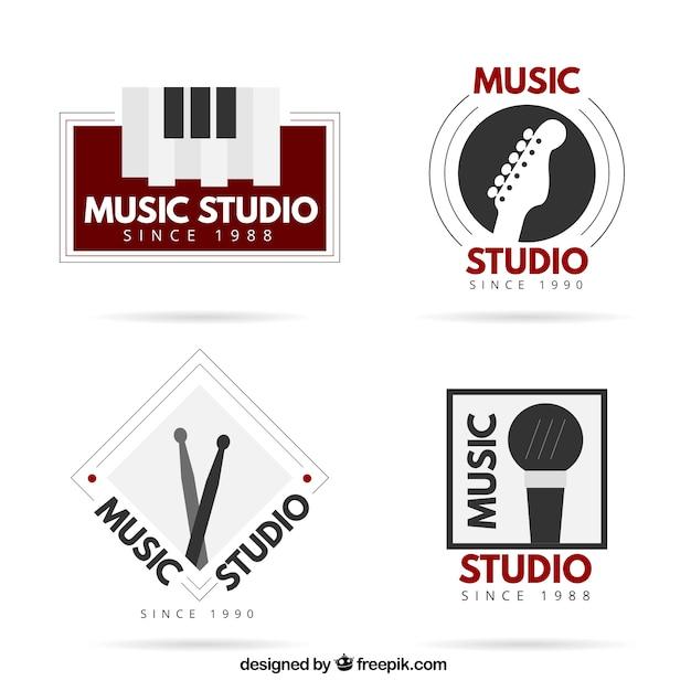 Elegant logos for a music studio Free Vector