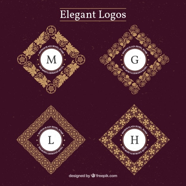 elegant logos with decorative initials vector free download