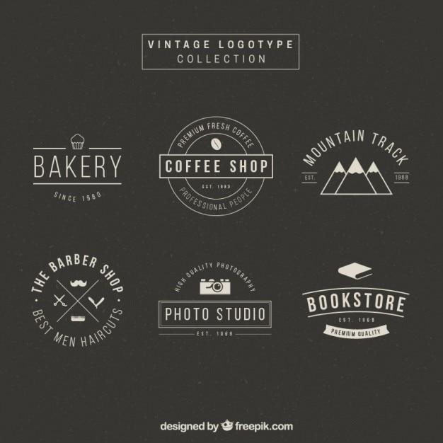 elegant logotype collection in vintage design vector