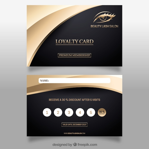Elegant loyalty card template with golden design Free Vector