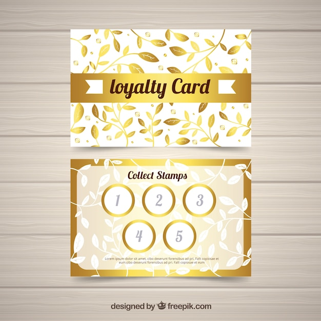 elegant loyalty card template with golden design vector free download