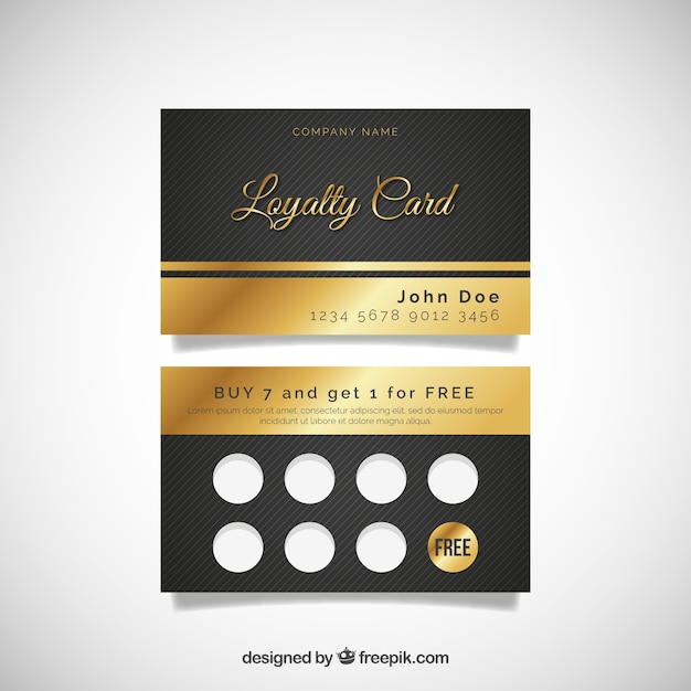 Elegant loyalty card template with golden style Free Vector