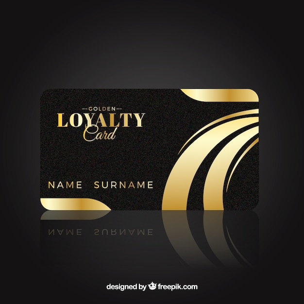 Free Vector Elegant Loyalty Card Template With Golden Style
