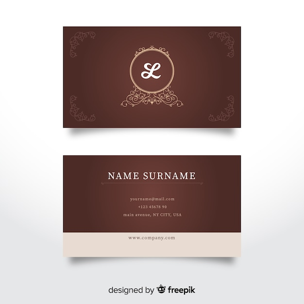 Elegant luxurious business card template Free Vector