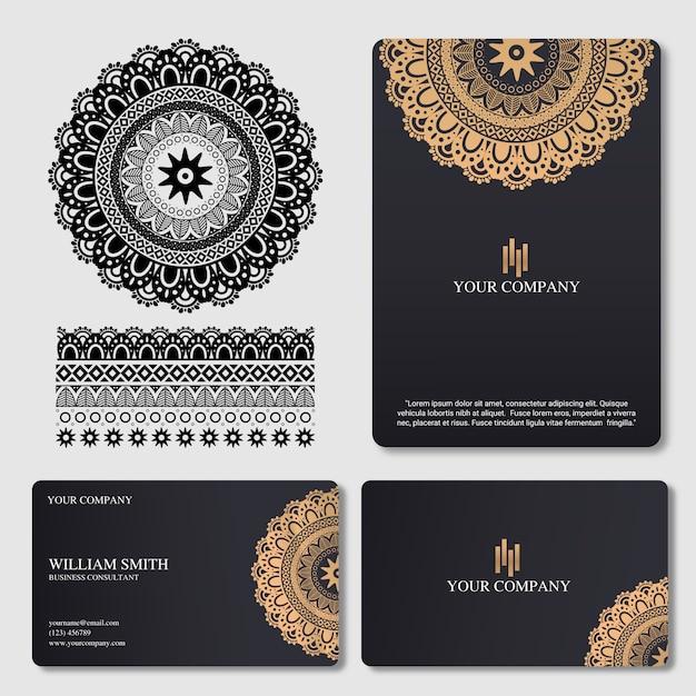 Elegant and luxury business card with mandala ornament Premium Vector