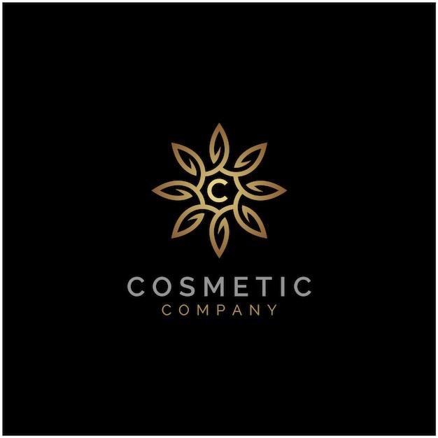 Elegant luxury golden star flower mandala logo Premium Vector