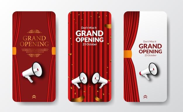 赤いカーテンステージと拡声器スピーカーを備えたアナウンスマーケティングのためのエレガントで豪華なグランドオープンまたは再開イベントソーシャルメディアストーリーテンプレート Premiumベクター