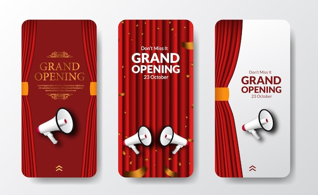 Elegant luxury grand opening or reopening event social media stories template for announcement marketing with red curtain stage and bullhorn speaker Premium Vector