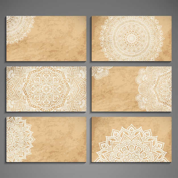 Elegant mandala card collection Free Vector