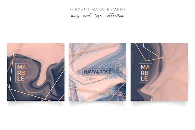 Elegant marble card in navy and rose colors Free Vector