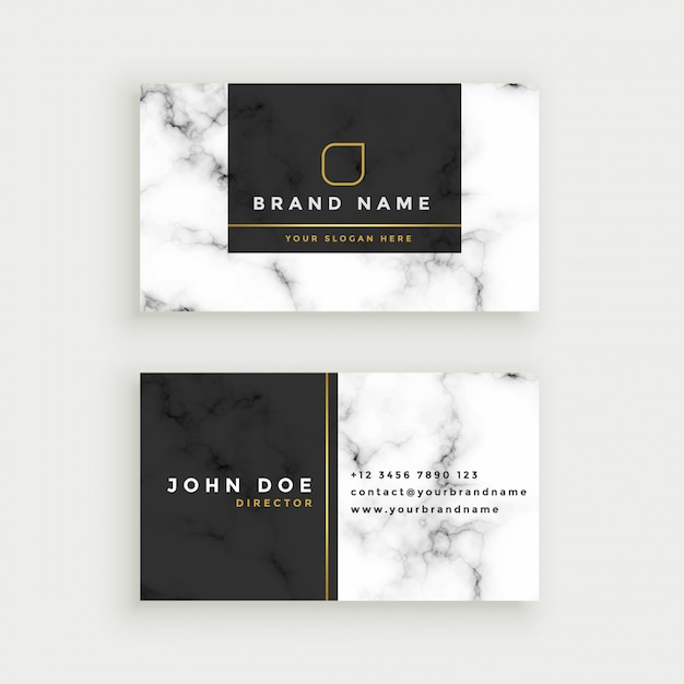 Elegant marble texture business card design Free Vector