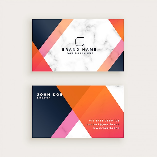 Elegant marble texture business card design Free Vector