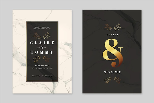 Elegant marble wedding invitation template with golden details Free Vector