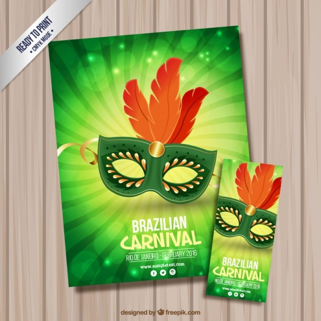 Elegant mask flyer and poster Free Vector