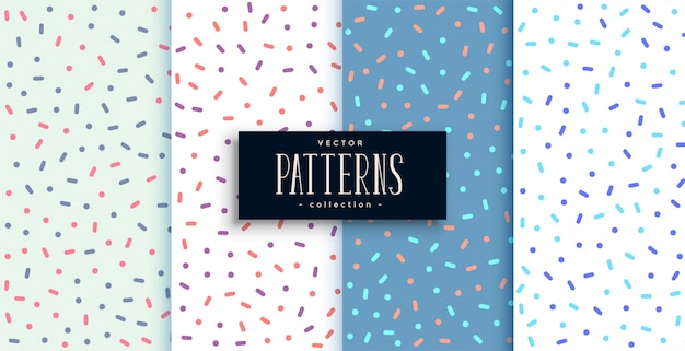 Elegant memphis style cute patterns set of four Free Vector