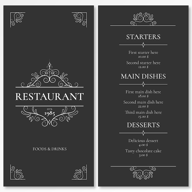 Elegant Menu Template for Restaurant with Ornaments Free Vector