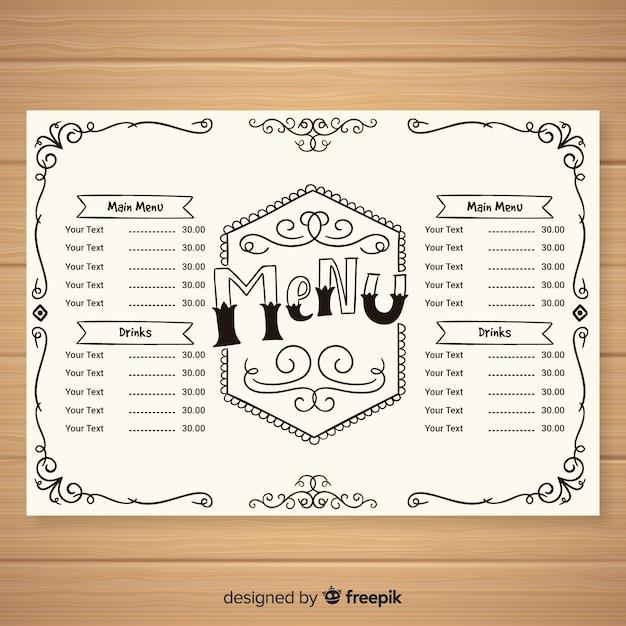 Elegant menu template vintage calligraphy Free Vector
