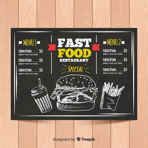 Elegant menu template with chalkboard style Free Vector