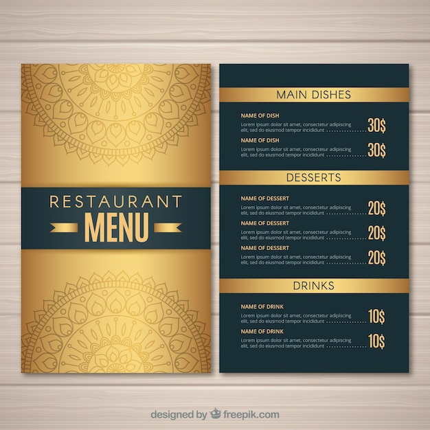 Elegant Menu Template With Golden Color Vector  Free Download