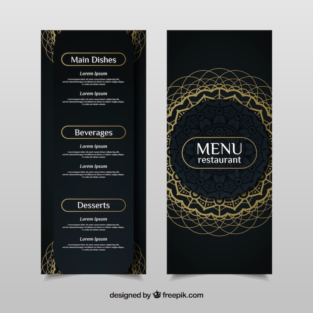 elegant menu template with golden mandala vector free download