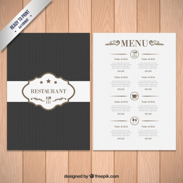 Elegant menu template vector free download for Cafe menu design template free download