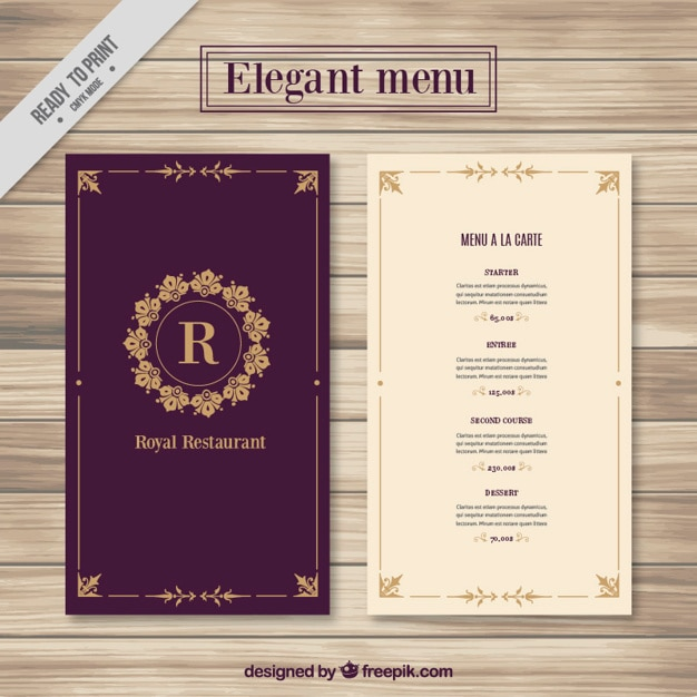 elegant menu template vector free download