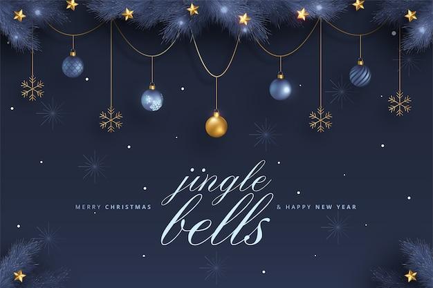Элегантная открытка с рождеством и новым годом с синими и золотыми украшениями Бесплатные векторы