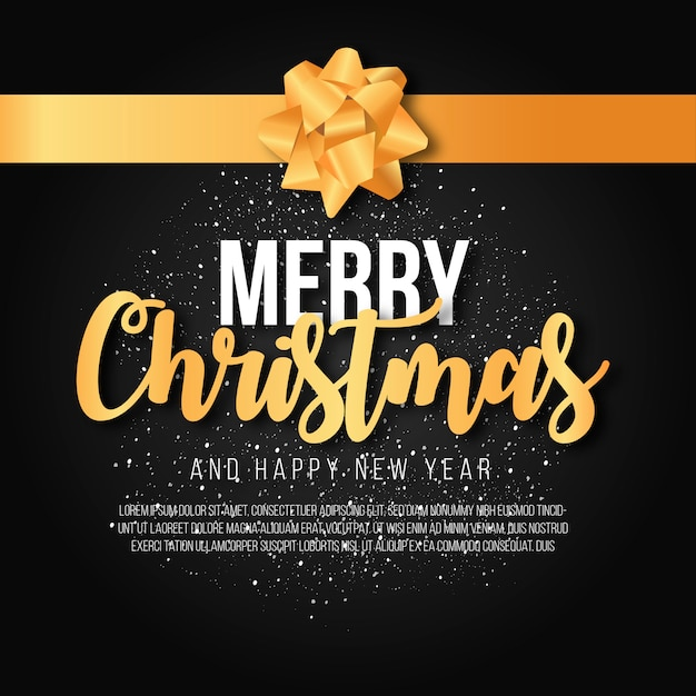 Elegant merry christmas background with golden ribbon Free Vector