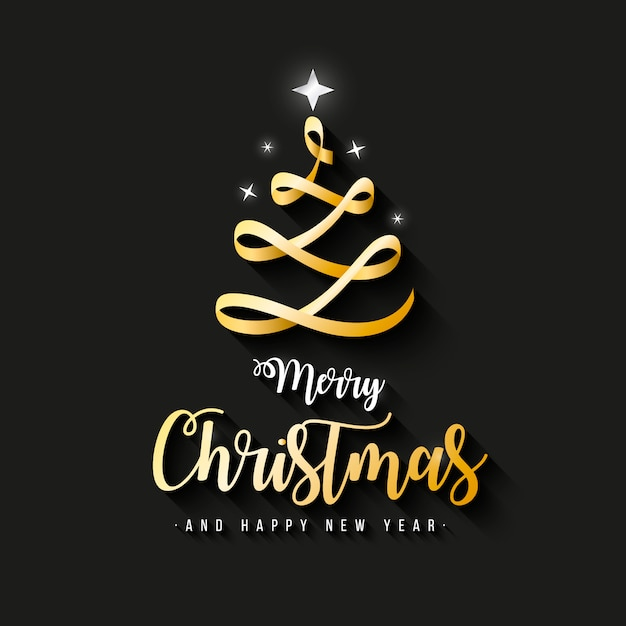 merry christmas gold vector free elegant merry christmas banner with gold ribbon vector free download