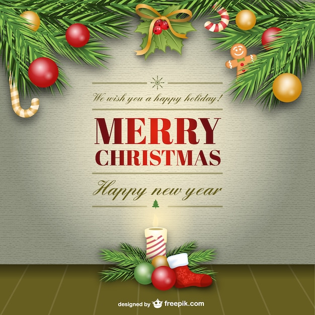 elegant merry christmas card vector free vector