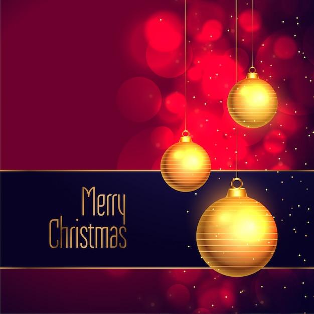Elegant merry christmas hanging golden ball decoration background Free Vector