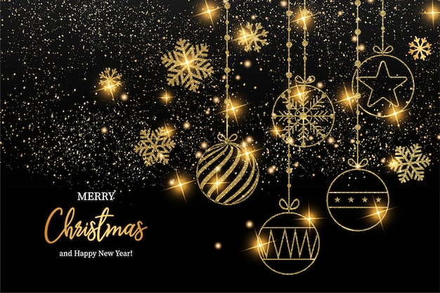 Elegant merry christmas and happy new year greeting card Free Vector