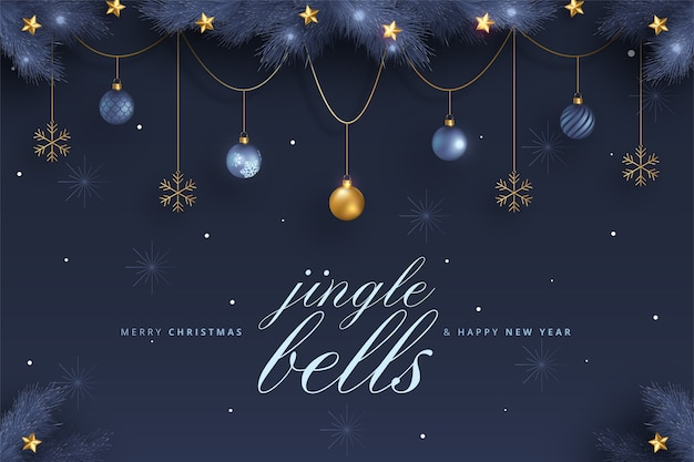 Elegant merry christmas and new year card with blue and golden ornaments Free Vector