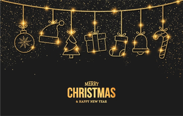 Elegant merry christmas and new year card with golden christmas objects icons Free Vector