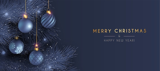 Elegant merry christmas and new year card with realistic blue decoration Free Vector