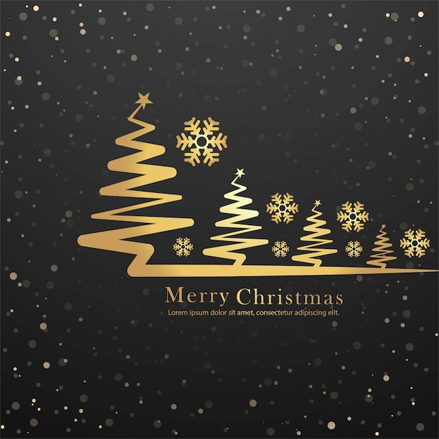 Elegant merry christmas tree card design vector Free Vector