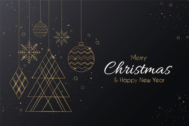 Elegant merry christmas with golden ornaments Free Vector