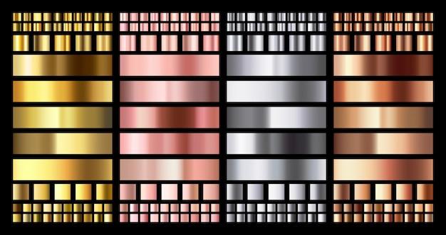 우아한 메탈릭 그라디언트. 빛나는 로즈 골드, 실버 및 브론즈 메달 그라디언트. 황금, 분홍색 구리 및 크롬 금속 수집 프리미엄 벡터