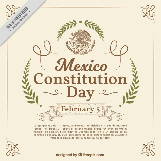 Elegant mexico constitution day background Free Vector
