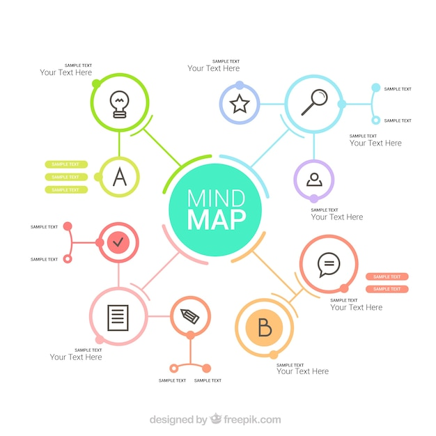Элегантная карта разума с яркими кругами Бесплатные векторы