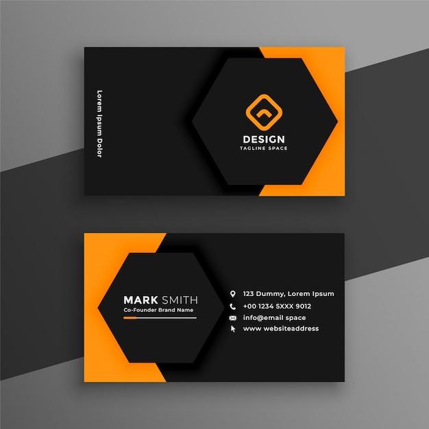 Элегантный минимальный черно-желтый шаблон визитной карточки Бесплатные векторы