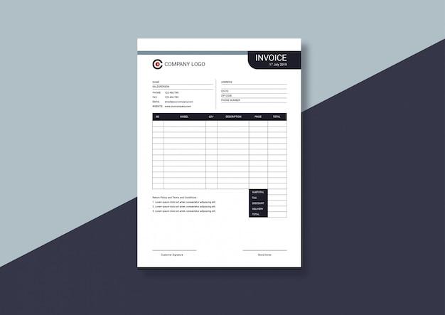Elegant minimalist invoice template Premium Vector