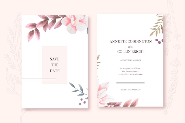 Elegant minimalistic floral wedding invitation template Free Vector