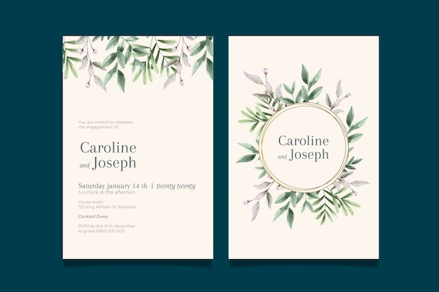 Elegant minimalistic floral wedding invitation template Free Vector
