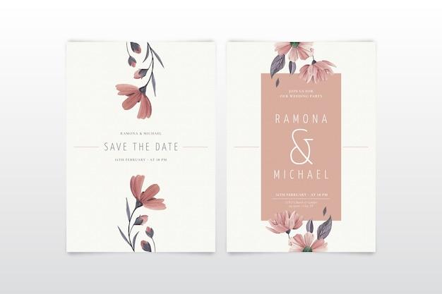 エレガントなミニマルな花の結婚式の招待状のテンプレート 無料ベクター