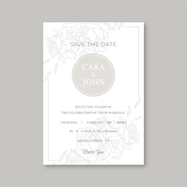 Elegant minimalistic floral wedding invitation Free Vector