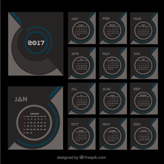 Elegant modern 2017 calendar Free Vector