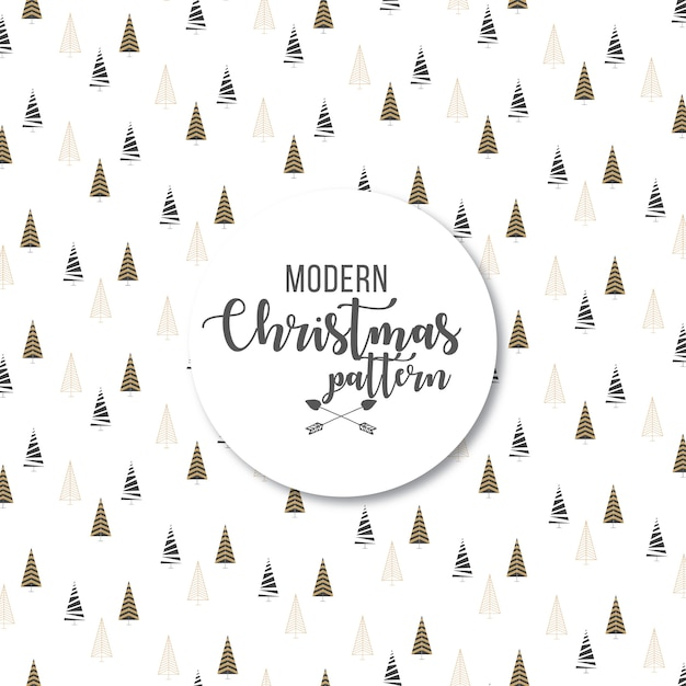 Elegant modern abstract christmas trees pattern background Free Vector