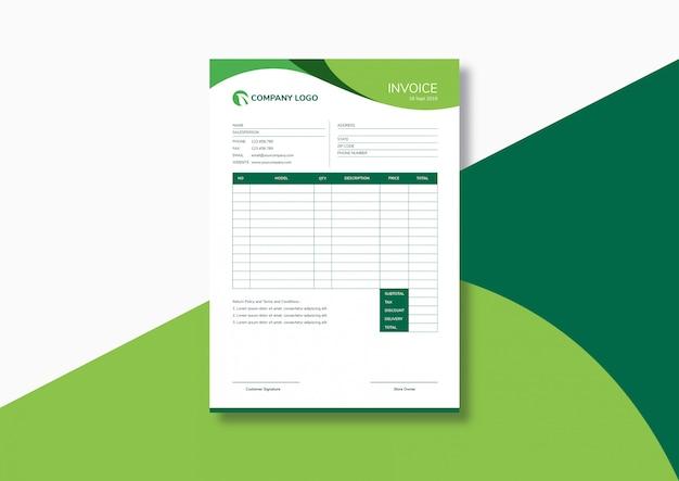 elegant modern green invoice template vector premium. Black Bedroom Furniture Sets. Home Design Ideas